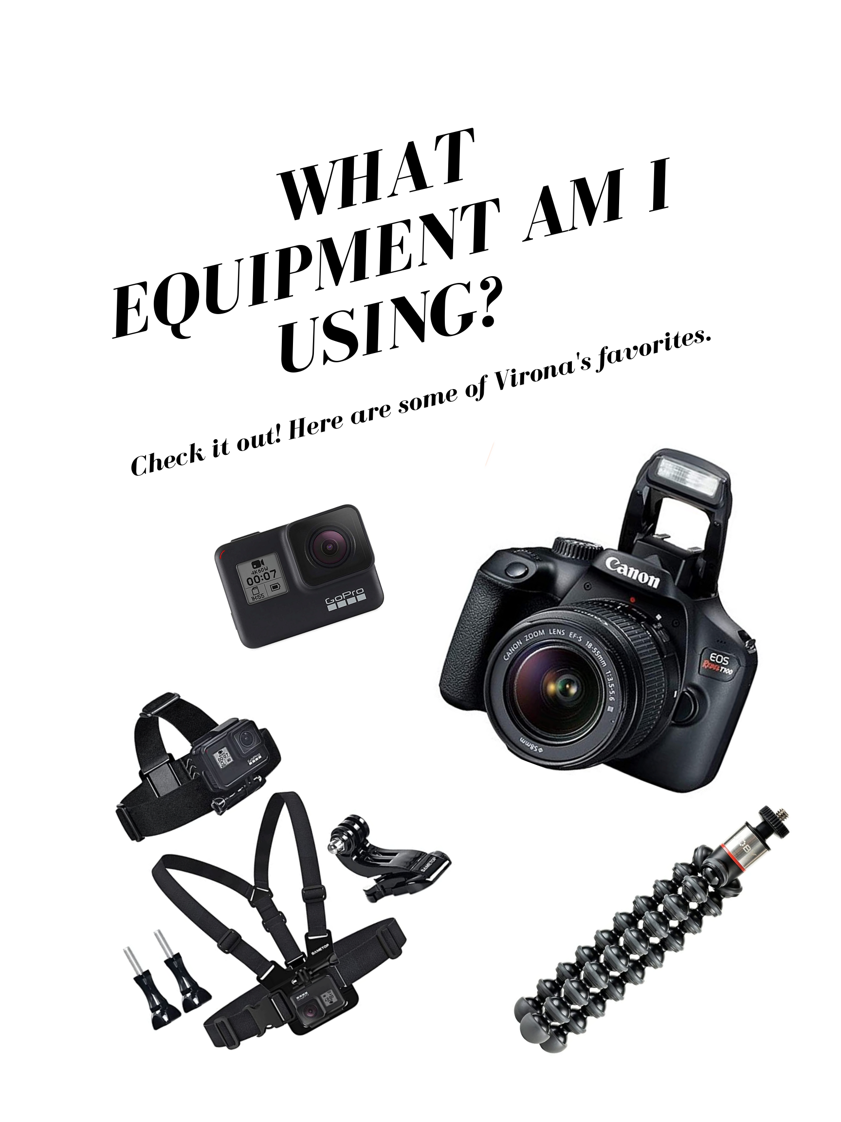 here is a list of equipment that I use to capture the best shots I can as a photography. photographer cameras for vloggers and bloggers